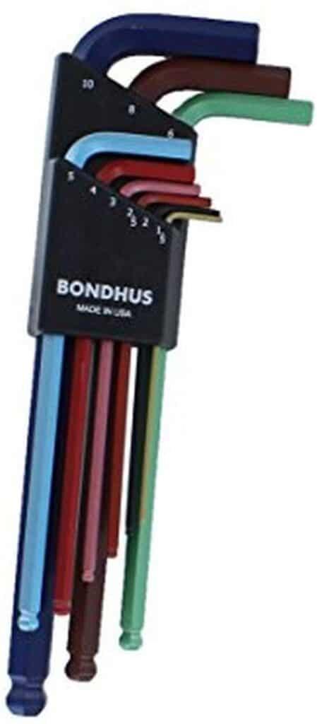 Bondhus 69499 Ball End L-Wrench Set w/ColorGuard Finish